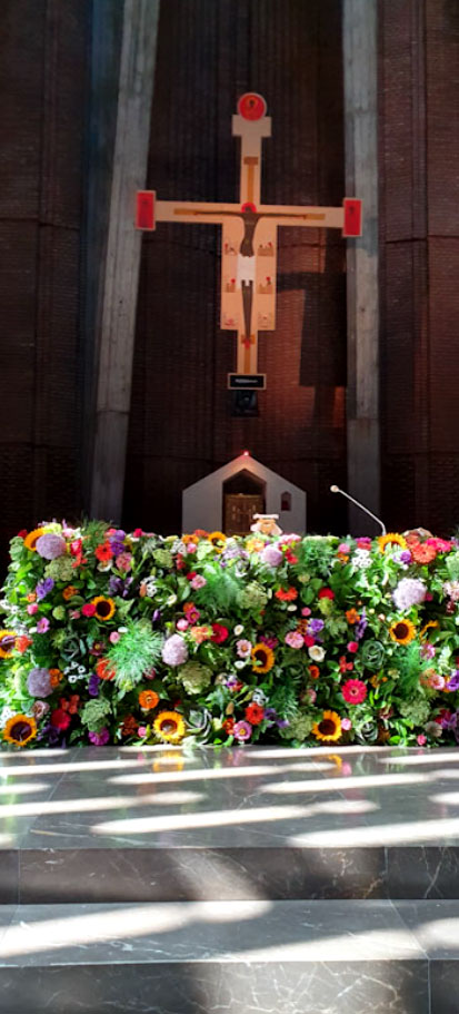Fresh flowers altar for the Solemnity of Assumption of Mary at the Dominican's church in Warsaw August 15 2020 for JN